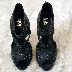 Lola back heels w/silver studs